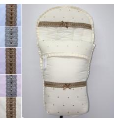 Saco Sillita Paseo piqué liso con detalles en bodoques y pasacintas Varios Modelos