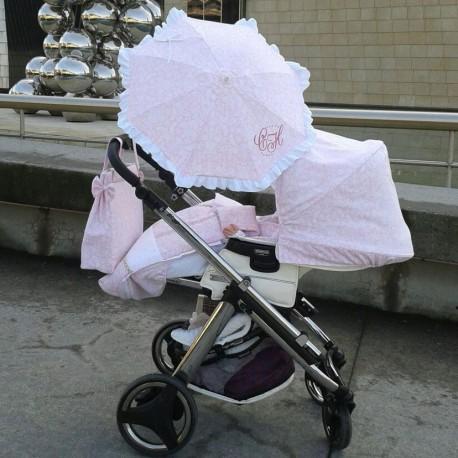 Conjunto BebeCar Ipop Capota, Saco y Lazos Rosa Estampado AC70