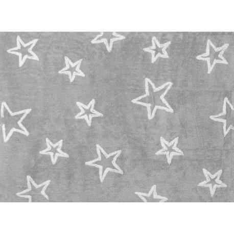 Alfombra Infantil 100% Algodón lavable en lavadora Colección Estrella Gris 120x160 cms