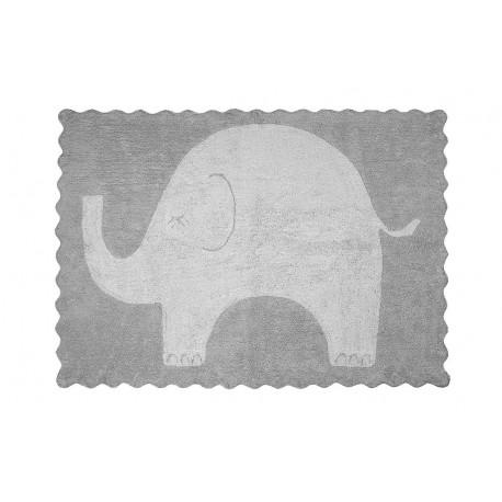 Alfombra Infantil 100% Algodón lavable en lavadora Colección Elefantito Gris 120x160 cms