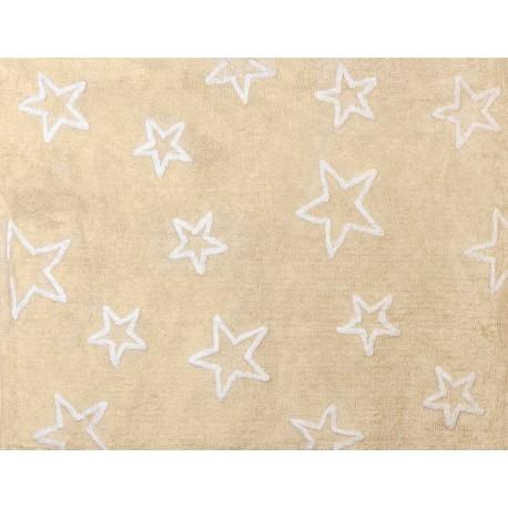 Alfombra Infantil 100% Algodón lavable en lavadora Colección Estrella Beige 120x160 cms