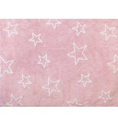 Alfombra Infantil 100% Algodón lavable en lavadora Colección MyEstrella Rosa 120x160 cms