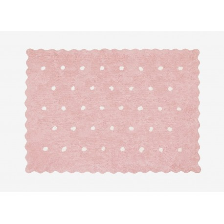 Alfombra Infantil 100% Algodón lavable en lavadora Colección Topitos Rosa 120x160 cms