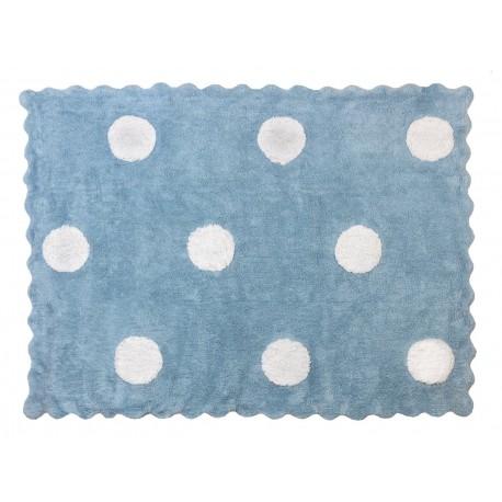 Alfombra Infantil 100% Algodón lavable en lavadora Colección Topos Celeste 120x160 cms