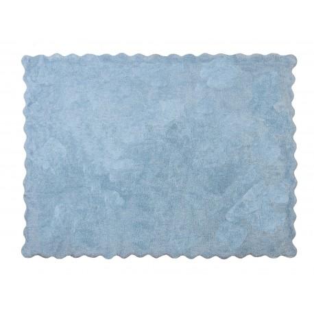 Alfombra Infantil 100% Algodón lavable en lavadora Colección Lisa Celeste 120x160 cms