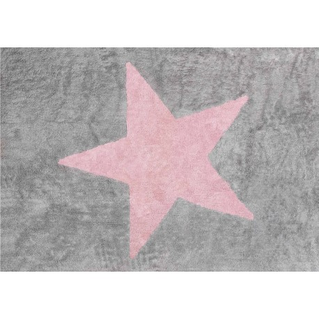 Alfombra Infantil 100% Algodón lavable en lavadora Colección Estela Gris / Rosa 120x160 cms