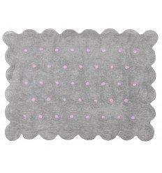 Alfombra Infantil 100% Algodón lavable en lavadora Colección Cookie Gris / Topos rosa 120x160 cms
