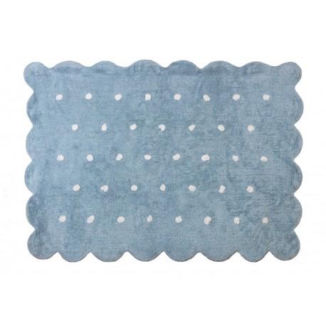 Alfombra Infantil 100% Algodón lavable en lavadora Colección Cookie Celeste 120x160 cms
