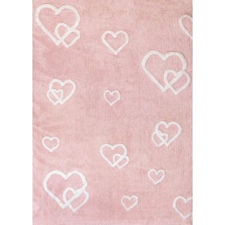Alfombra Infantil 100% Algodón lavable en lavadora Colección Corazones Rosa 120x160 cms