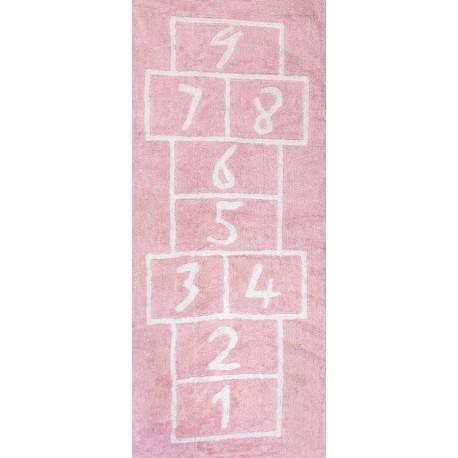Alfombra Infantil 100% Algodón lavable en lavadora Colección Pata Coja Rosa 90x200 cms