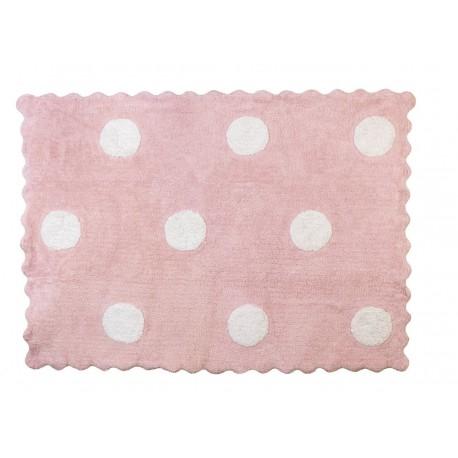 Alfombra Infantil 100% Algodón lavable en lavadora Colección Topos Rosa 120x160 cms