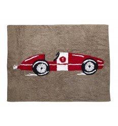 Alfombra Infantil 100% Algodón lavable en lavadora Colección Coche de carreras Rojo 120x160 cms