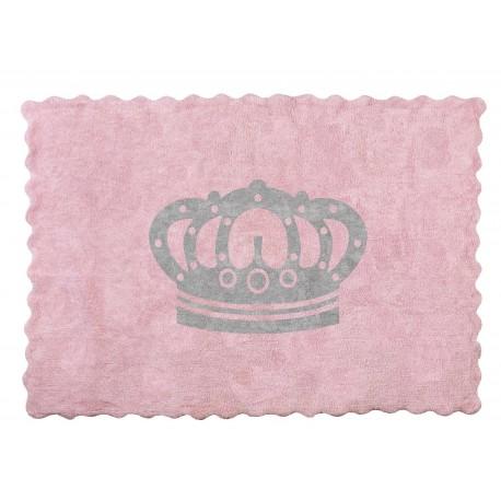 Alfombra Infantil 100% Algodón lavable en lavadora Colección Corona Rosa_Gris 120x160 cms
