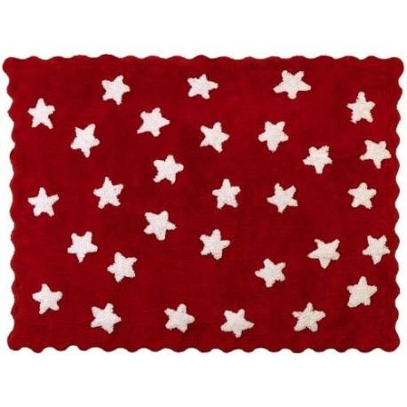 Alfombra Infantil 100% Algodón lavable en lavadora Colección Eden Rojo 120x160 cms