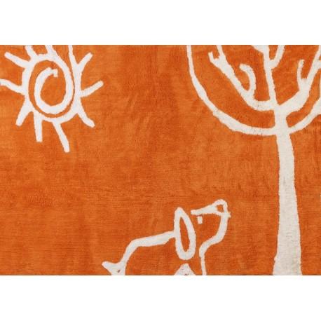 Alfombra Infantil 100% Algodón lavable en lavadora Colección Verano Naranja 120x160 cms