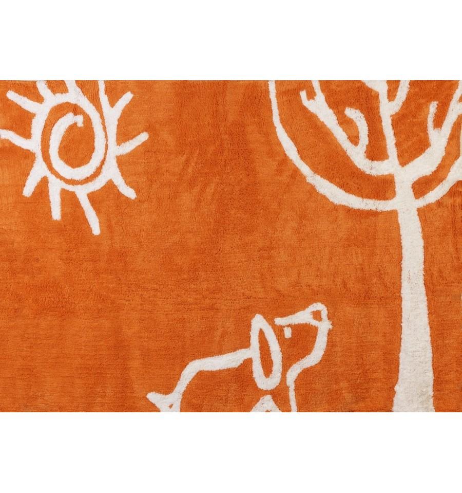 Alfombra infantil 100 algod n lavable en lavadora colecci n myverano naranja 120x160 cms - Alfombra algodon lavable ...