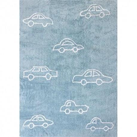 Alfombra coche 100% algodón, tamaño 120 x 160, color celeste