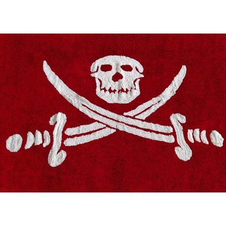 Alfombra Infantil 100% Algodón lavable en lavadora Colección Bandera Pirata Rojo 120x160 cms