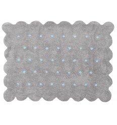Alfombra Infantil 100% Algodón lavable en lavadora Colección Cookie Gris / Topos celeste 120x160 cms