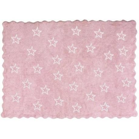 Alfombra Infantil 100% Algodón lavable en lavadora Colección Paris Rosa 120x160 cms