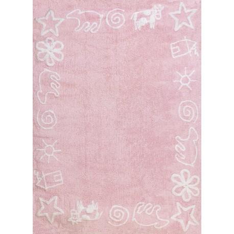 Alfombra Infantil 100% Algodón lavable en lavadora Colección Prado Rosa 120x160 cms