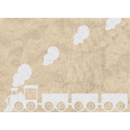Alfombra Infantil 100% Algodón lavable en lavadora Colección Tren Beige 120x160 cms