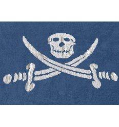 Alfombra Infantil 100% Algodón lavable en lavadora Colección Bandera Pirata Marino 120x160 cms