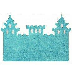 Alfombra Infantil 100% Algodón lavable en lavadora Colección Castillo Celeste 120x160 cms