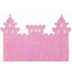 Alfombra Infantil 100% Algodón lavable en lavadora Colección Castillo Rosa 120x160 cms