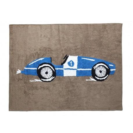 Alfombra Infantil 100% Algodón lavable en lavadora Colección Coche de carreras Marino 120x160 cms