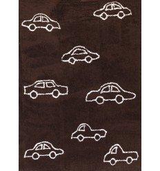 Alfombra Infantil 100% Algodón lavable en lavadora Colección Coche Marrón 120x160 cms