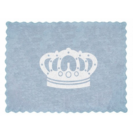 Alfombra Infantil 100% Algodón lavable en lavadora Colección Corona Celeste 120x160 cms