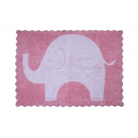 Alfombra Infantil 100% Algodón lavable en lavadora Colección Elefantito Rosa 120x160 cms