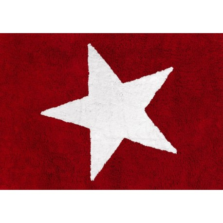 Alfombra Infantil 100% Algodón lavable en lavadora Colección Estela Rojo 120x160 cms