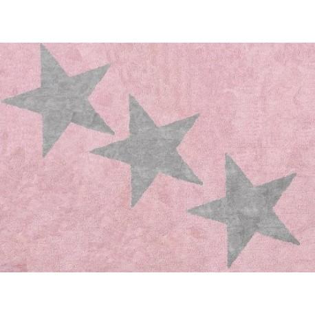 Alfombra Infantil 100% Algodón lavable en lavadora Colección Europa Rosa / Gris 120x160 cms