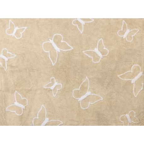 Alfombra Infantil 100% Algodón lavable en lavadora Colección Mariposa Beige 120x160 cms