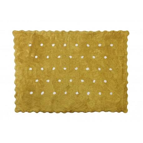 Alfombra Infantil 100% Algodón lavable en lavadora Colección Topitos Mostaza 120x160 cms