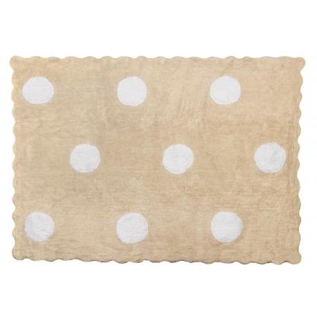 Alfombra Infantil 100% Algodón lavable en lavadora Colección Topos Beige 120x160 cms