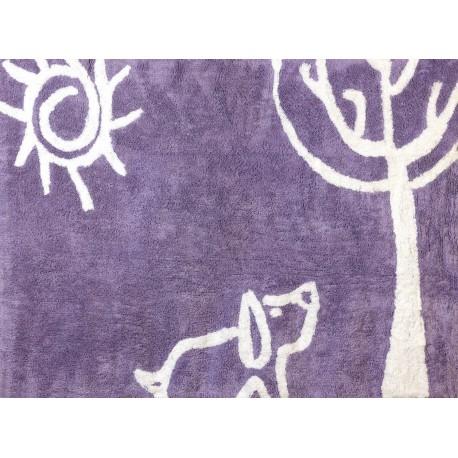 Alfombra Infantil 100% Algodón lavable en lavadora Colección Verano Lila 120x160 cms