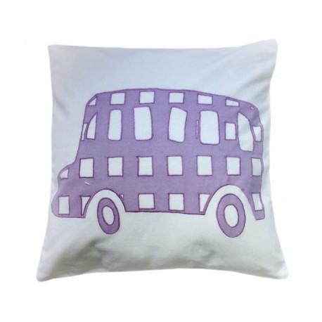 Cojin infantil lavable. Diseño Bus. 40x40 cms