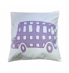Funda de cojin infantil lavable. Diseño Bus. 40x40 cms