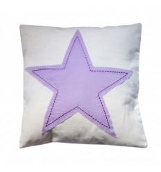 Funda de cojin infantil lavable. Diseño Estrella Lila.