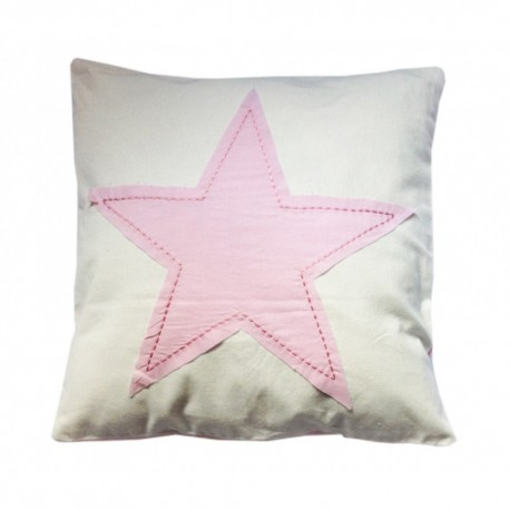 Funda de cojin infantil lavable. Diseño Estrella Rosa.