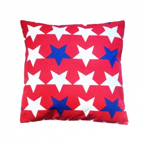 Funda de cojin infantil lavable. Diseño Estrellas Rojo.