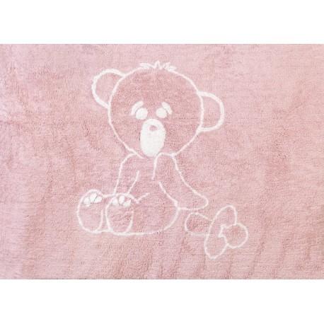 Alfombra Infantil 100% Algodón lavable en lavadora Colección Osito Rosa 120x160 cms