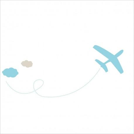 Vinilos decorativos Avion Celeste