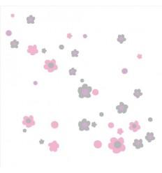 Vinilos decorativos Flores Gris_Rosa