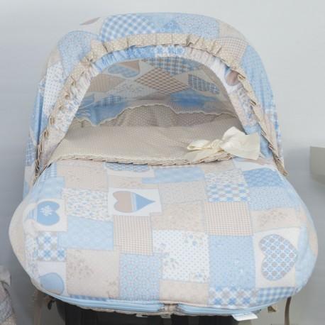 Conjunto Portabebé Capota + Saco Patchwork Azul
