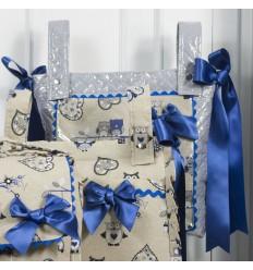 Bolso Panera Alta con Aplique Buhos Azul