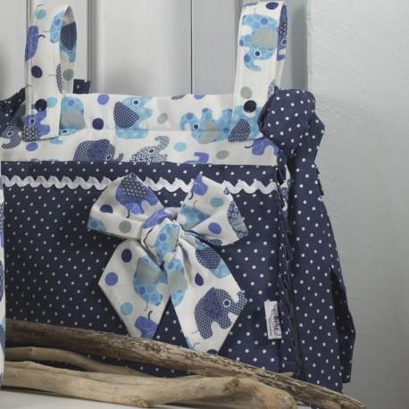 Bolso Panera Cuadrado Elefantes Azul